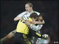 Daniel Andersson is mobbed by his team-mates