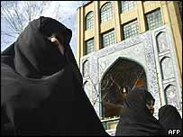 Conservative women protest in Tehran