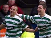 Larsson celebrates his late goal