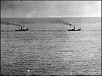 Boats on the way to the evacuation of Dunkirk