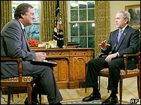 Tim Russert (left) interviews George W Bush in the Oval Office