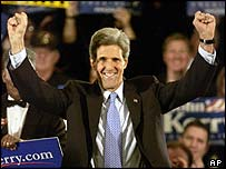 Senator John Kerry celebrates more state wins