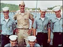 Kerry (second from left, top) with members of his crew aboard PCF-31 in the Mekong Delta during the Vietnam war