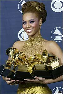 Beyonce with her Grammy Awards