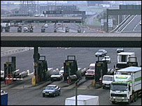 Toll booths by the Dartford crossing
