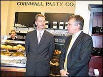 Pasty shop opening, Andreas Scholz and Sir Peter Torry