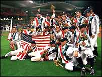 The USA celebrate victory in 2000