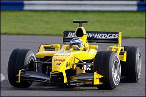 Nick Heidfeld, Jordan's only confirmed driver, in the new EJ14 F1 car
