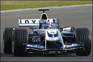 Juan Pablo Montoya behind the wheel of the Williams-BMW FW26