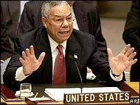 Colin Powell addresses the UN Security Council
