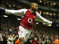 Thierry Henry celebrates his goal