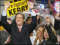 John Kerry and his wife Teresa celebrate at a primary night party at George Mason University in Fairfax, Va