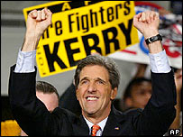 John Kerry smiles at party in George Mason University, Fairfax, Virginia at news of his victory