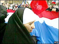 Muslim girl on protest