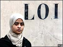 Muslim girl under the word
