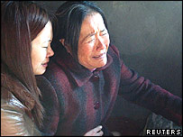 Bereaved relatives in Fuqing, Fujian province