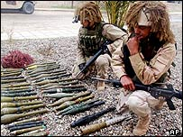 US troops in Iraq with small arms