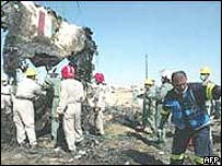 Wreckage of Kish Air plane crash