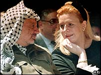 Palestinian leader Yasser Arafat with wife Suha in 1995