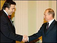 Mikhail Saakashvili and Vladimir Putin