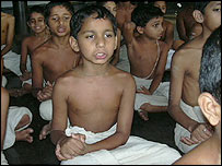 Chanting pupils at the Brahmaswam Madham school in Kerala