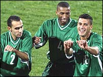 Youssef Mokhtari and his Moroccan teammates celebrate
