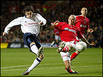 Spurs' Simon Davies fires them ahead against Charlton