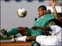 Nigeria's George Abbey in action