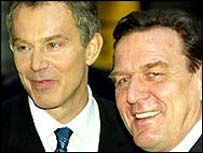 UK Prime Minister Tony Blair and German Chancellor Gerhard Schroeder