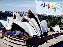Sydney Opera House with the Olympic flag flying