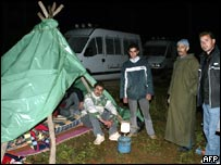 Resident camp out in the Moroccan village of Imzouren