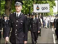 Brian Paddick leads officers on the gay pride march