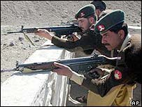 Pakistani security forces in the South Waziristan tribal area