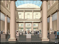 Computer-generated image of Metropolitan Museum of Art interior