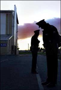 Policeman outside All Saints School