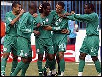 Jay-Jay Okocha celebrates his goal