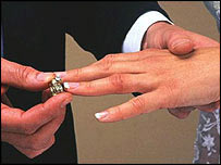 Man putting wedding ring on woman's finger