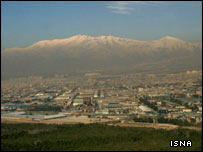 Pollution over the city of Tehran