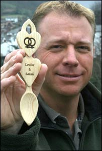 Christopher Smith with his lovespoon