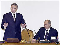 President Vladimir Putin (right) during a meeting with ex-PM Mikhail Kasyanov (left) and his ministers
