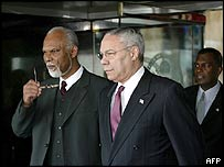 From left: Jamaica Foreign Minister Keith Knight; US Secretary of State Colin Powell; The Bahamas Foreign Minister Frederick Mitchell