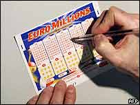 A Euro Millions lottery ticket