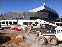 Construction of the Ano Liossia Olympic Hall facility in Athens continues