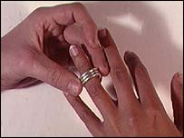 Ring being placed on finger