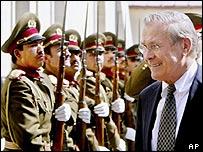 Mr Rumsfeld inspecting Afghan troops