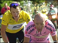 Lance Armstrong and Marco Pantani on the Tour de France