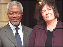 UN Secretary General Kofi Annan and ex-international development secretary Clare Short