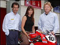 The BBC Sport MotoGP team: Parrish, Perry & Cox