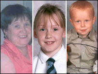 Fatal crash victims from left: Anne Martin, her daughter Ashley and Ross Sneddon