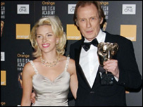 Bill Nighy shows his Bafta delight with Scarlett Johansson